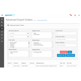 Advanced Export Orders To XML Or JSON For OpenCart V2