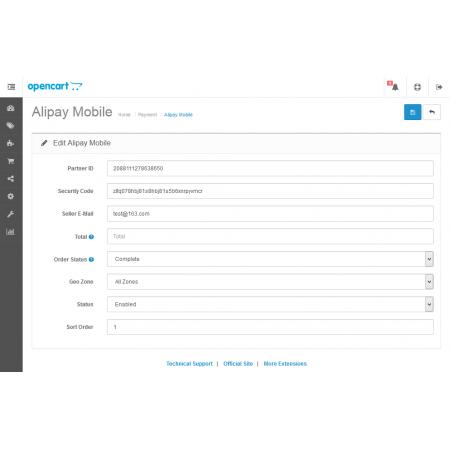 Alipay Mobile For OpenCart V2